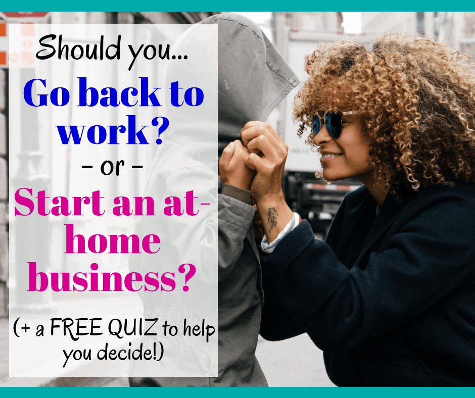 Most of us SAHMs will hit this mom career dilemma: should you go back to work or start an at-home business? Let's think through the major deciding points! #SAHM #SAHMcareer #WAHMbusiness #goingbacktowork #momcareers #careerdecisions | SAHM career re-entry | make money from home | work from home jobs for moms | how to start a business from home | how to start an online business